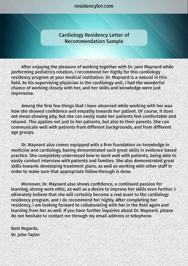 Professional Medical Recommendation Letter for Residency