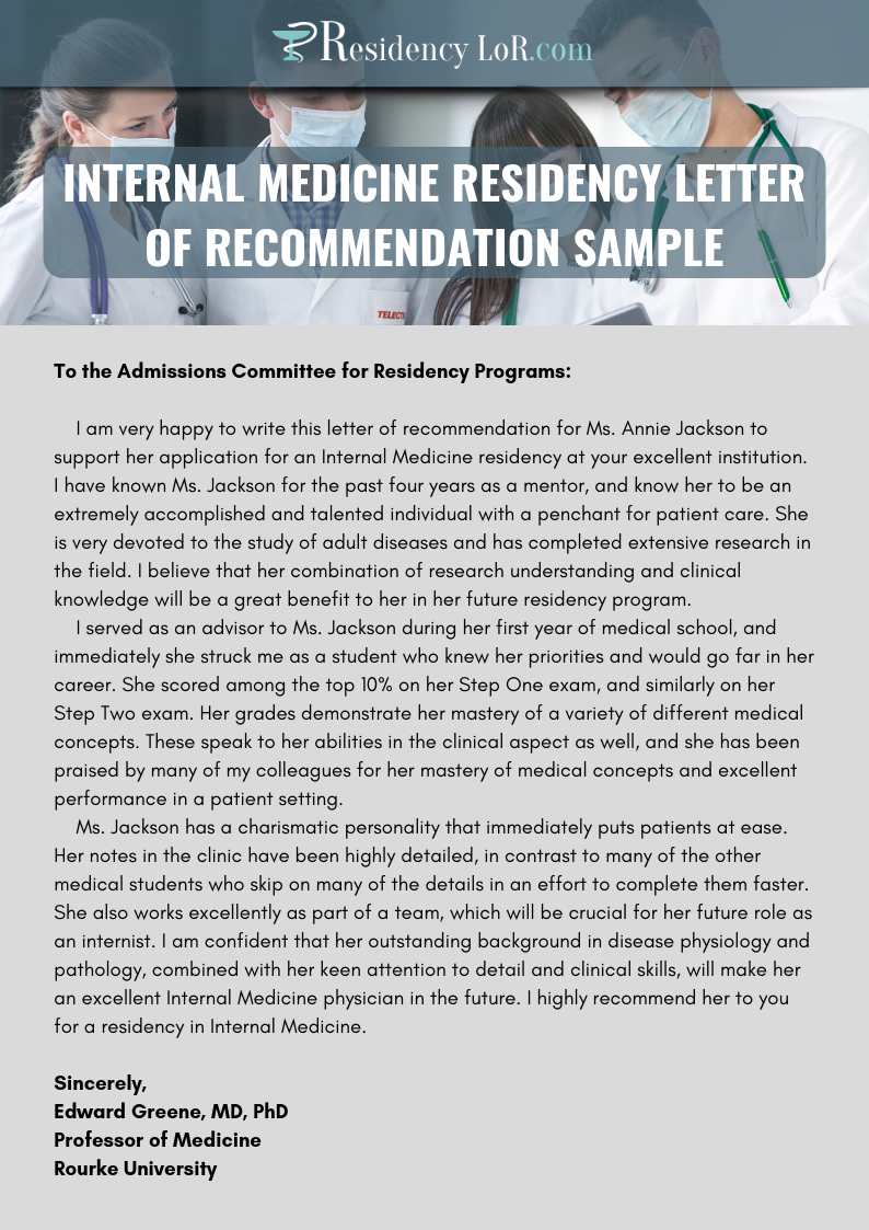 internal medicine residency letter of recommendations