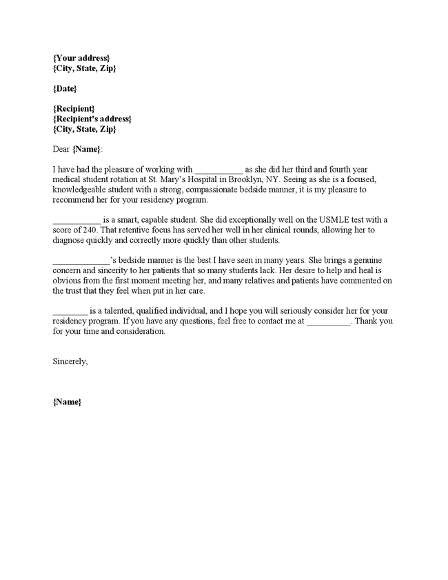 Residency letter of recommendation cover letter