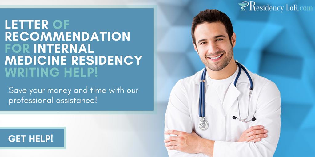 letter of recommendation for internal medicine residency