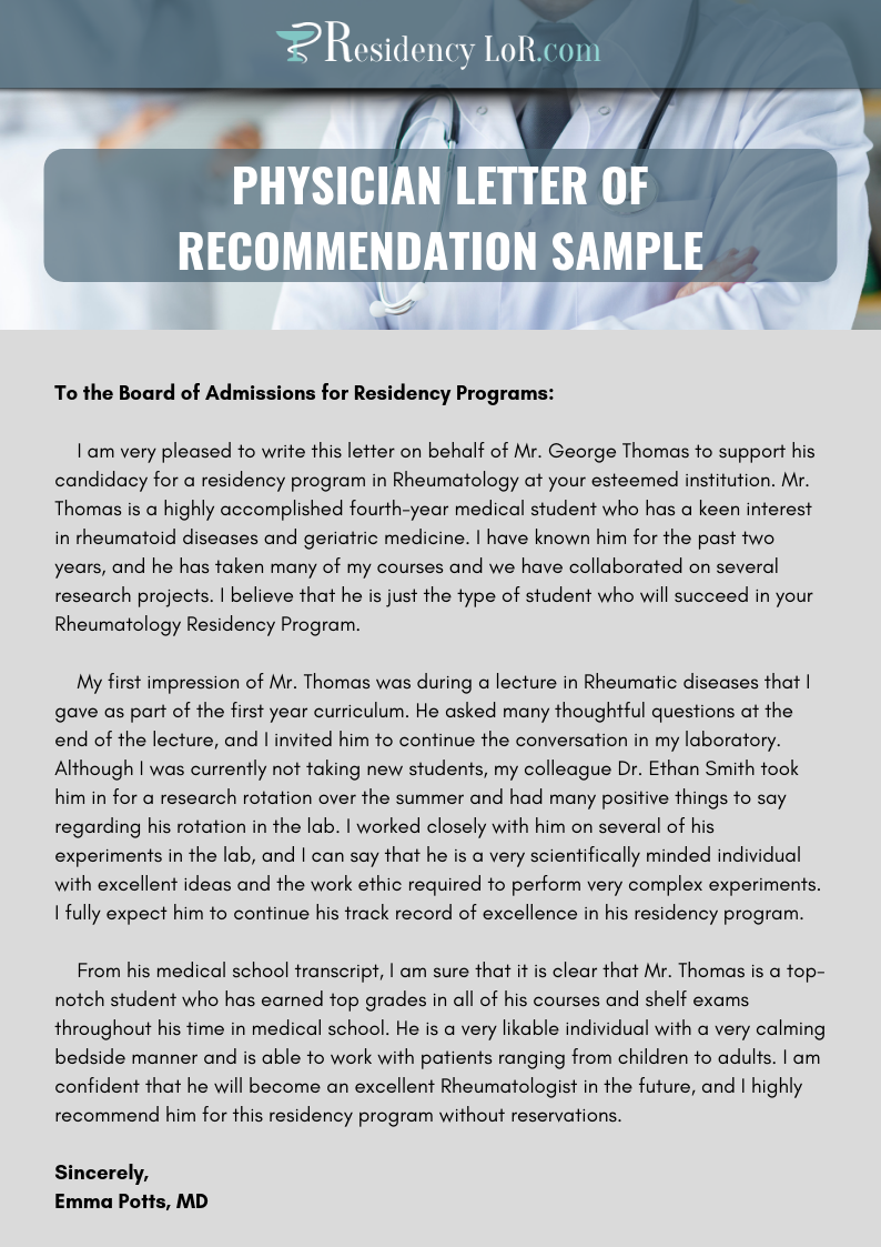 physician letter of recommendation sample