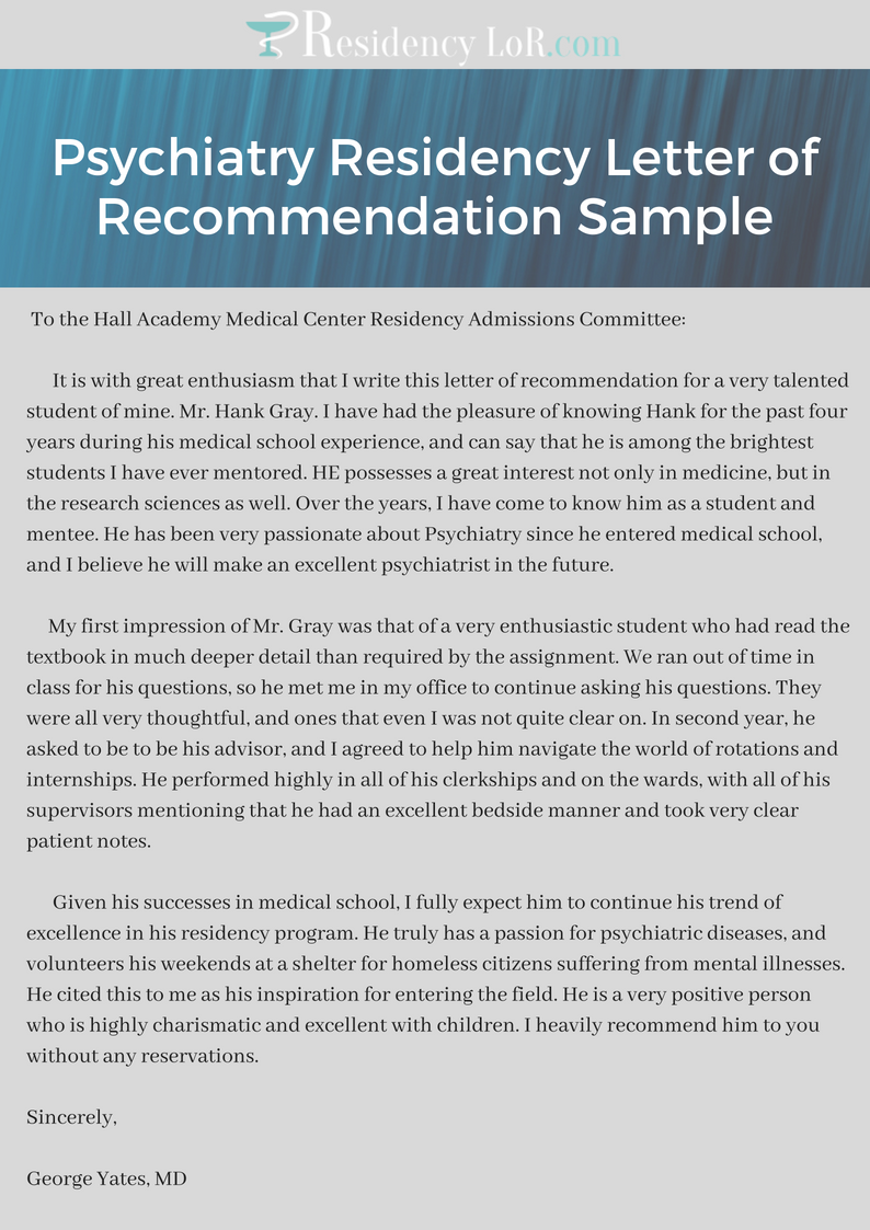 top sample letter of recommendation for psychiatry residency