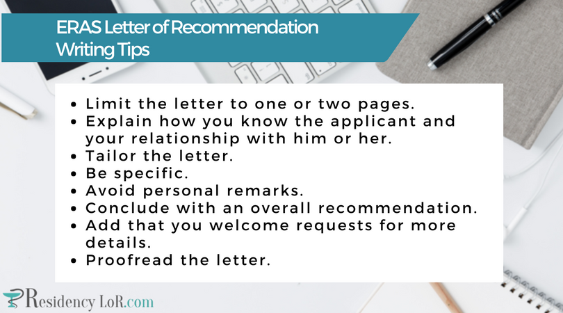eras letter of recommendation writing tips