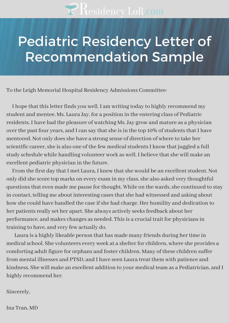 pediatric residency letter of recommendation sample