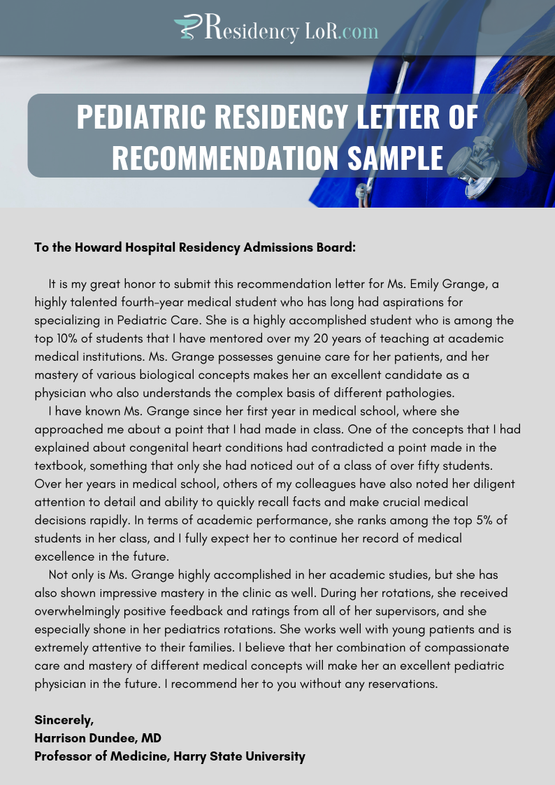 pediatric residency recommendation letter sample