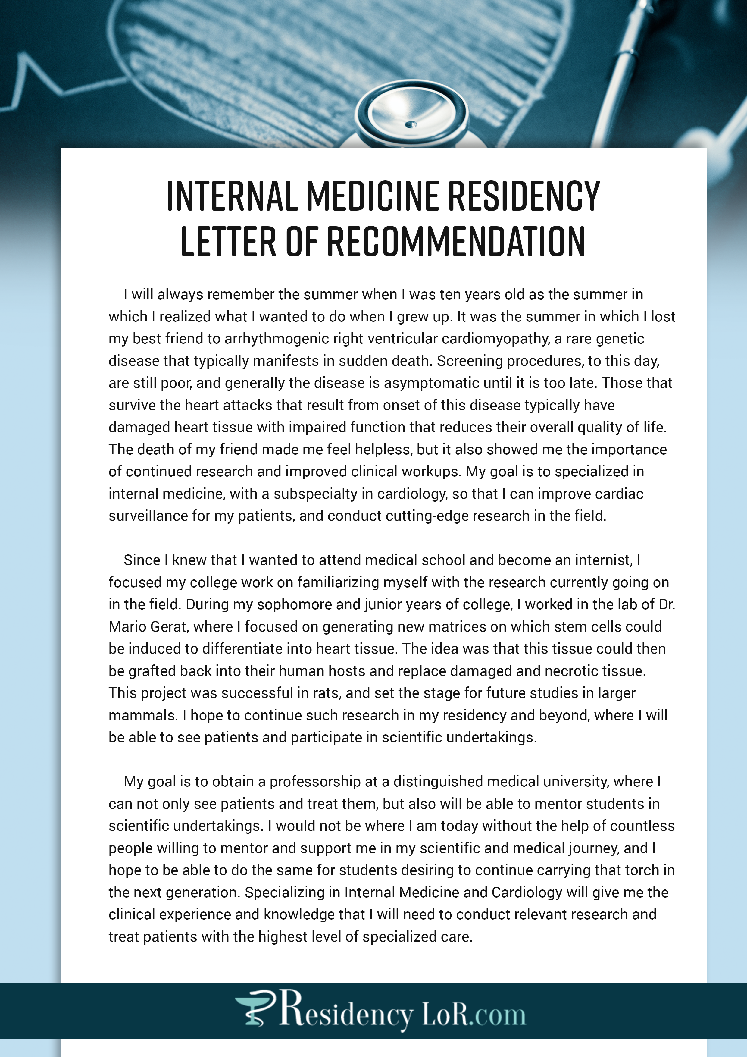 sample letter of recommendation for internal medicine