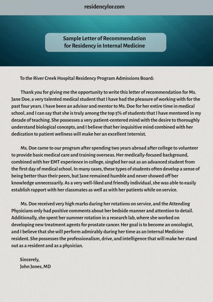 sample letter of recommendation for residency in internal medicine
