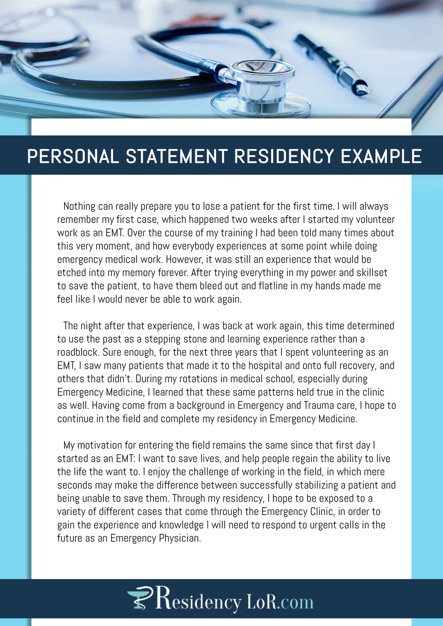 personal statement residency example