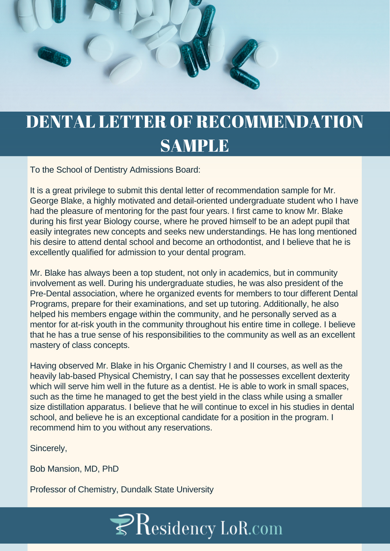 dental letter of recommendation sample