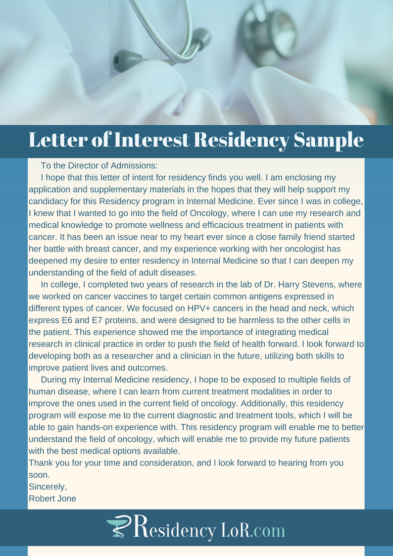 Professional Residency Letter Of Interest Writing Help