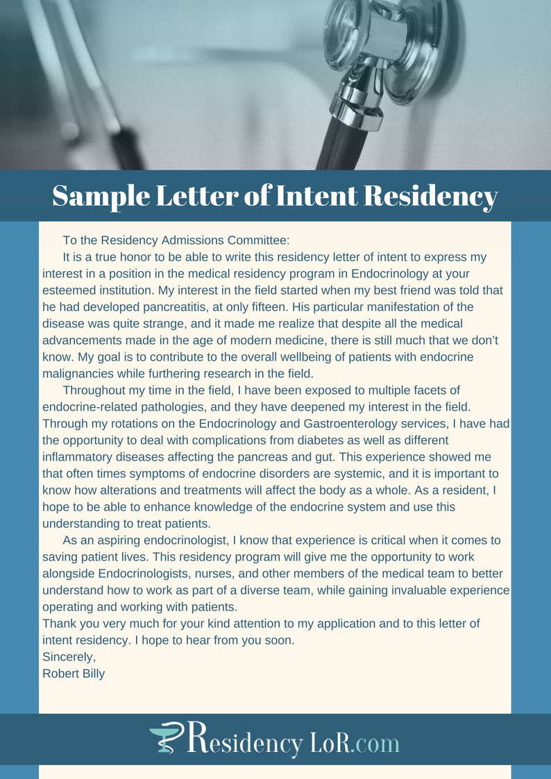 sample letter of intent residency