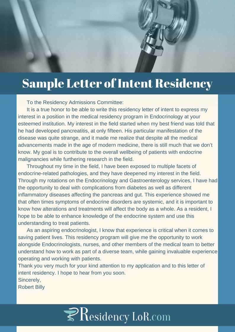 sample letter of intent residency