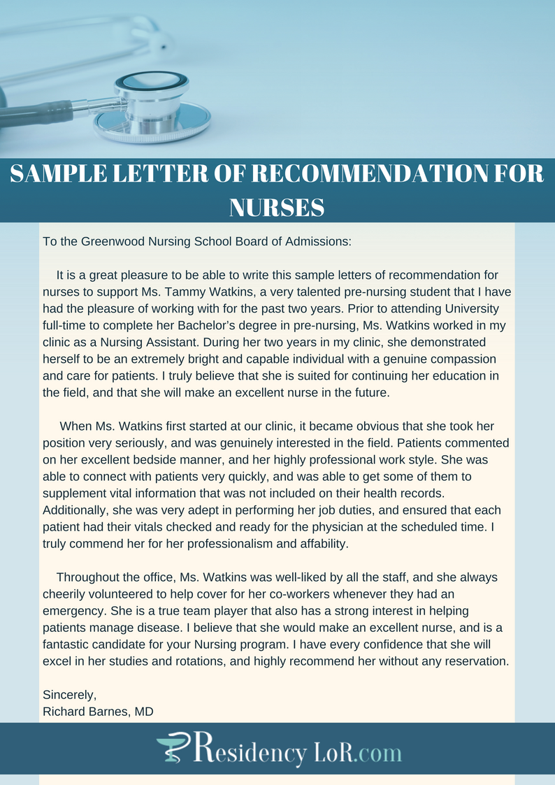 sample letters of recommendation for nurses