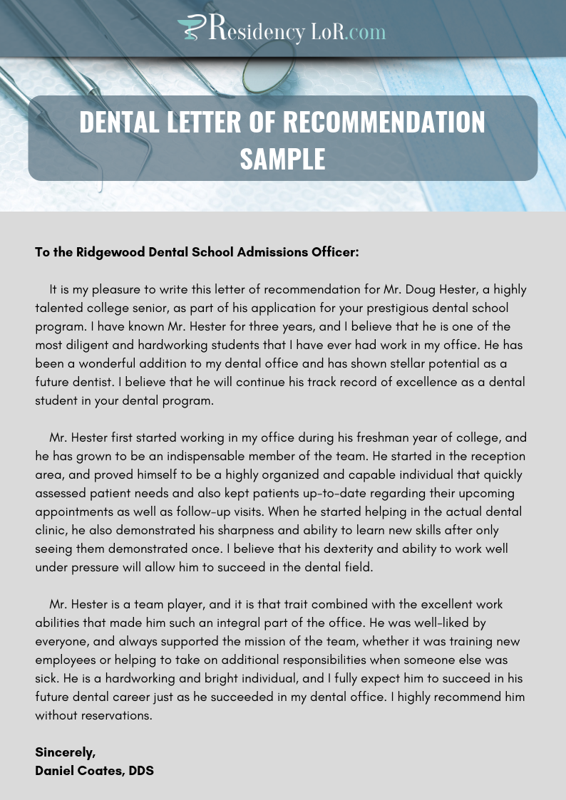 recommendation letter for dentist