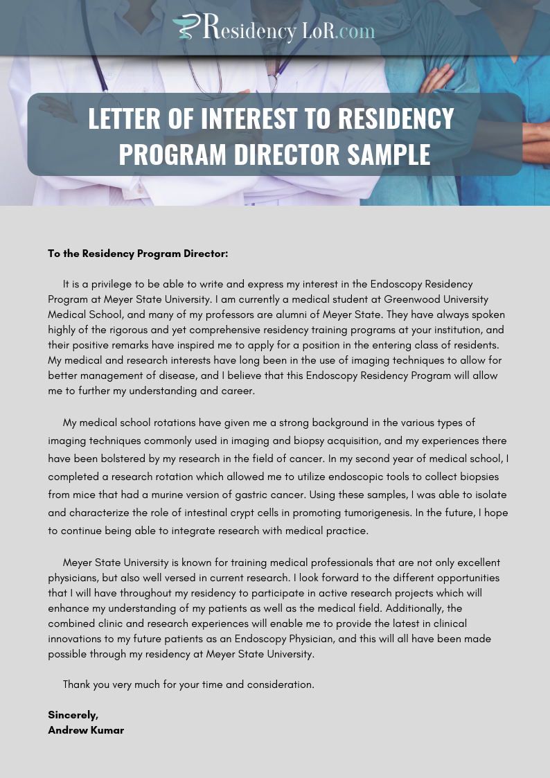 example letter of interest to residency program director
