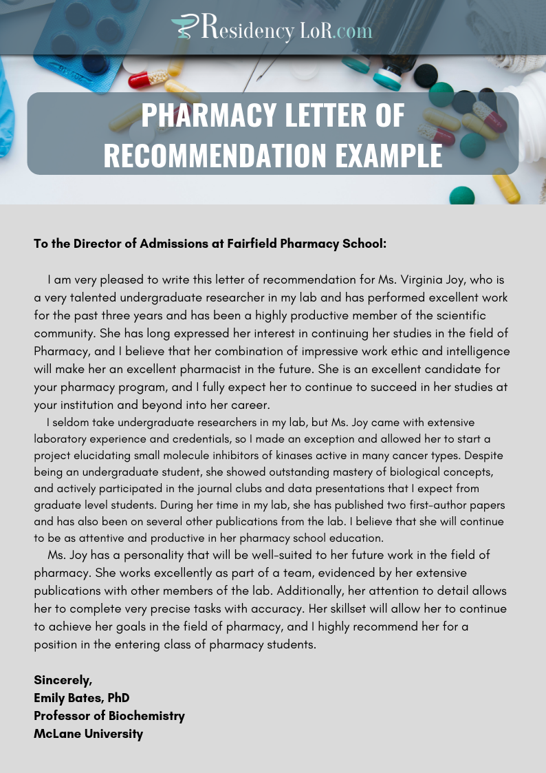excellent pharmacy letter of recommendation writing help