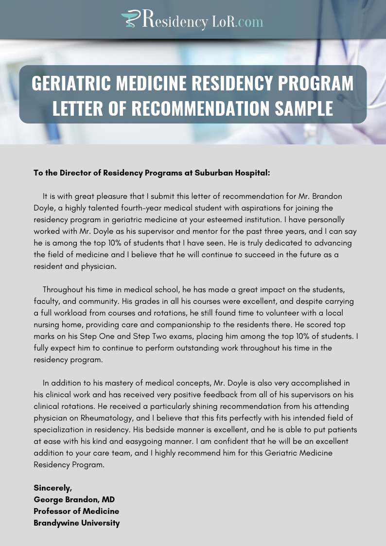 sample letter of recommendation residency