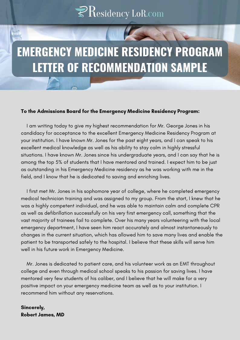sample letters of recommendation for residency