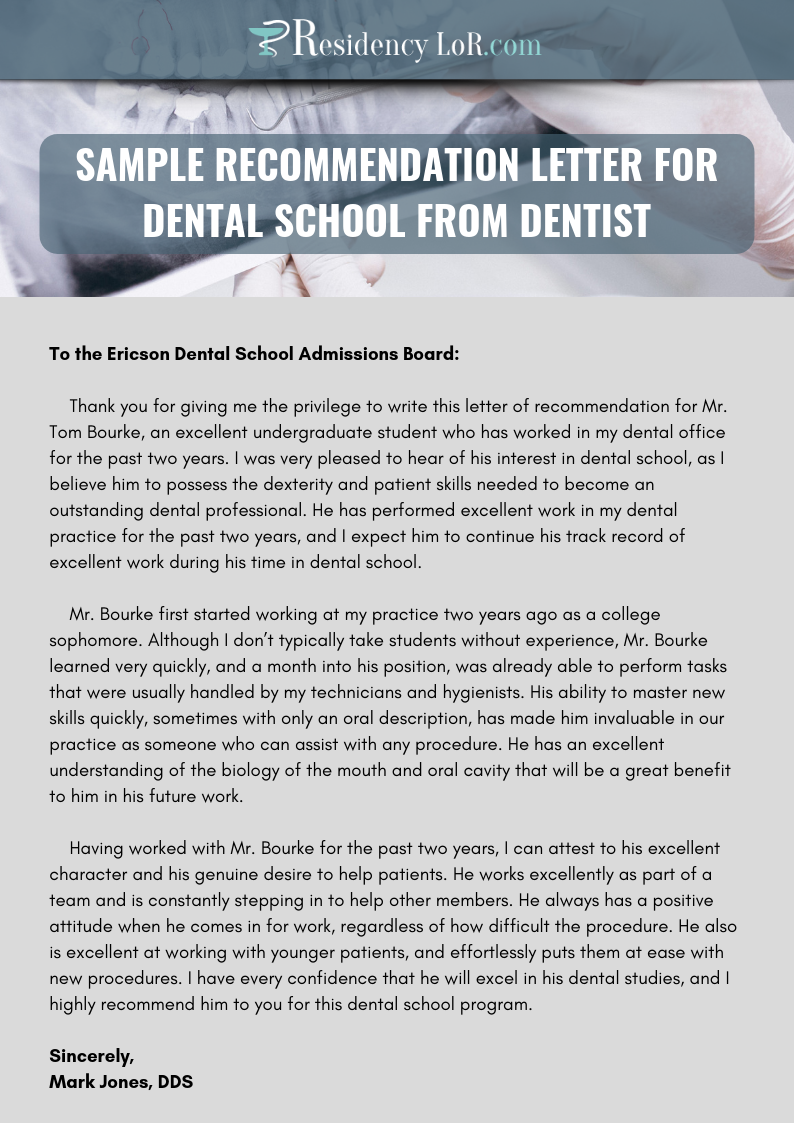 sample recommendation letter for dental school from dentist